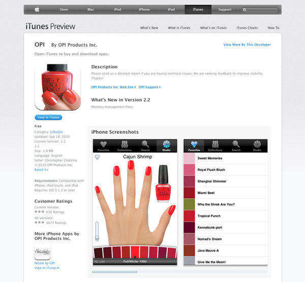 OPI for iPhone (iTunes)